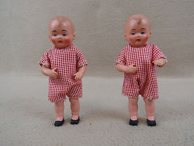 "Two 4"" vintage antique German Celluloid Turtle Mark Twin toddler baby dolls"