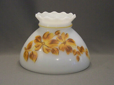 "Vintage GWTW milk glass lamp shade hand painted floral ruffled top 8"" fitter"