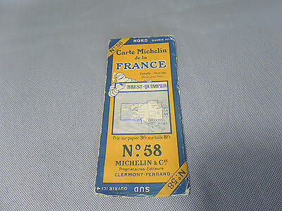 Card Michelin No 58 Brest / Quimper 1926/Collector Bibendum Antique and Vintage