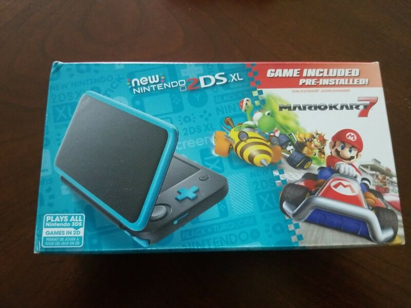 ✅ Nintendo 2ds XL Black Turquoise Handheld Console With Mario Kart 7 - Brand New
