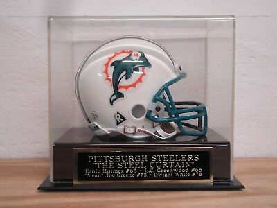 Display Case For A Pittsburgh Steelers Steel Curtain Signed Football Mini -