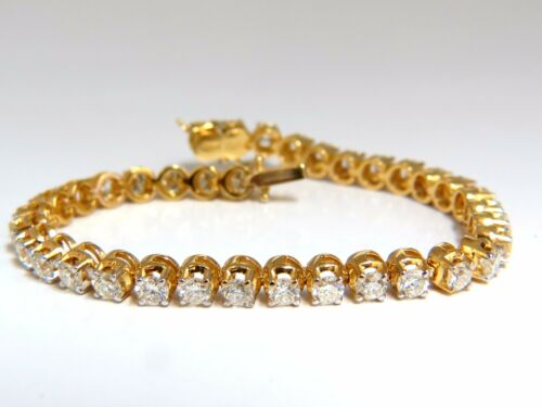 5.40ct Natural Diamond Tennis Bracelet / Victorian High Profile Petite 14kt+