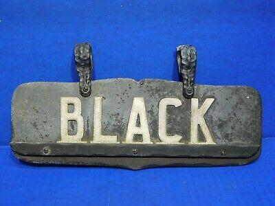 Vtg Antique Iron Aluminum Metal House Sign Black Outdoor Newel Post Brackets