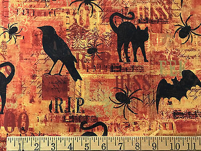 Halloween cotton Fabric 43 x 35 Phoenix Creative Creatures Night Cat spider