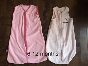 Fleece sleep sacks 6-12 months