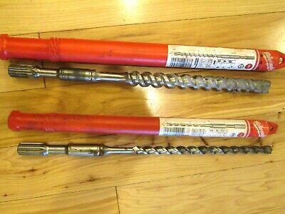 2 Milwaukee 48-20-4370 1x11x16 And 48-20-4051 12x10x16 Spline Drill Bits