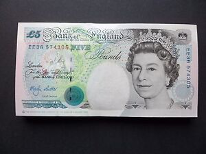 BANK OF ENGLAND £5 POUND NOTE - M.V.LOWTHER   -  ( single note only )