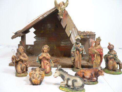 VTG 9 Figures & Creche Nativity Set Made in Italy Plaster  Plastic?