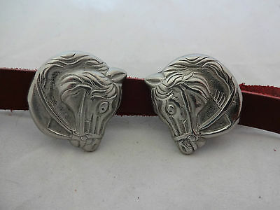 "Pair Horsehead Loop Back Conchos 1 1/4"" Bridle Headstall Rosettes Horse Tack New"