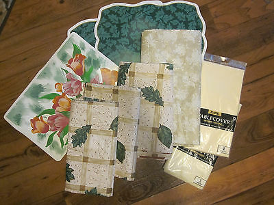 Lot of 9 Plastic Table Cloths, 4 w/ Flannel Backs & Place-Mats