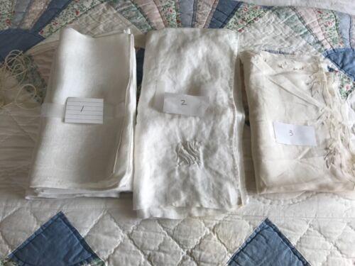 Vintage Table Linen White Cotton  Napkin Damask 9 piece lot - Projects