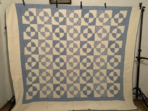 """Antique Vintage 1930s BEAUTIFUL Blue & White Robbing Peter LARGE Quilt 82""""X94"""""""