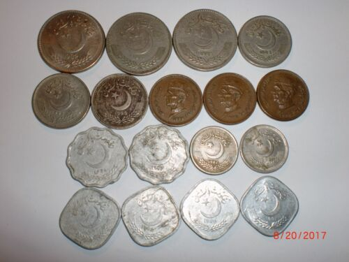 - PAKISTAN -  17 OLD COINS -  1982-2000 -ALL DIFFERENT - SOME RARE  # 21AQ