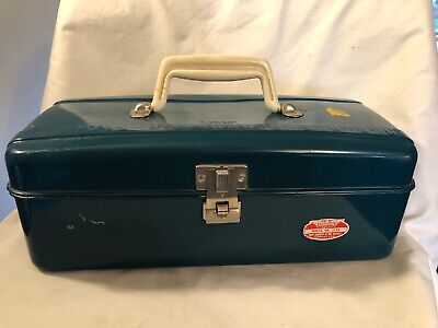 Vintage Blue Metal Fishing Tackle Box - Union Steel Chest USA Nice Chest