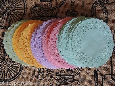 """Lot of 20 Hand Dyed 4"""" Paper Lace DOILIES 