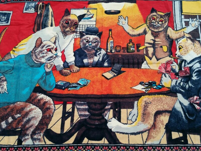 Vintage Rare Cats Playing Cards Poker Wall Tapestry Beautiful Condition!