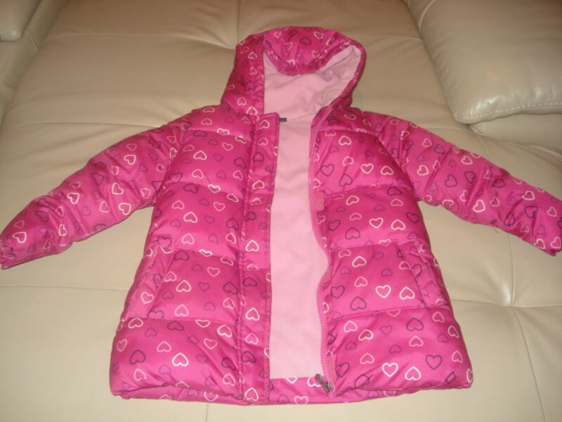 Pre-Owned Dark Pink Winter Long Sleeves Girls Hood Jacket For Toddlers,Size 3T