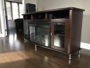 Meuble télévision avec foyer électrique