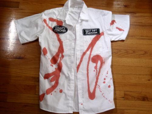 COUNTY CORONER NIGHT SHIFT SUPERVISOR BLOOD STAINED SHIRT HALLOWEEN COSTUME