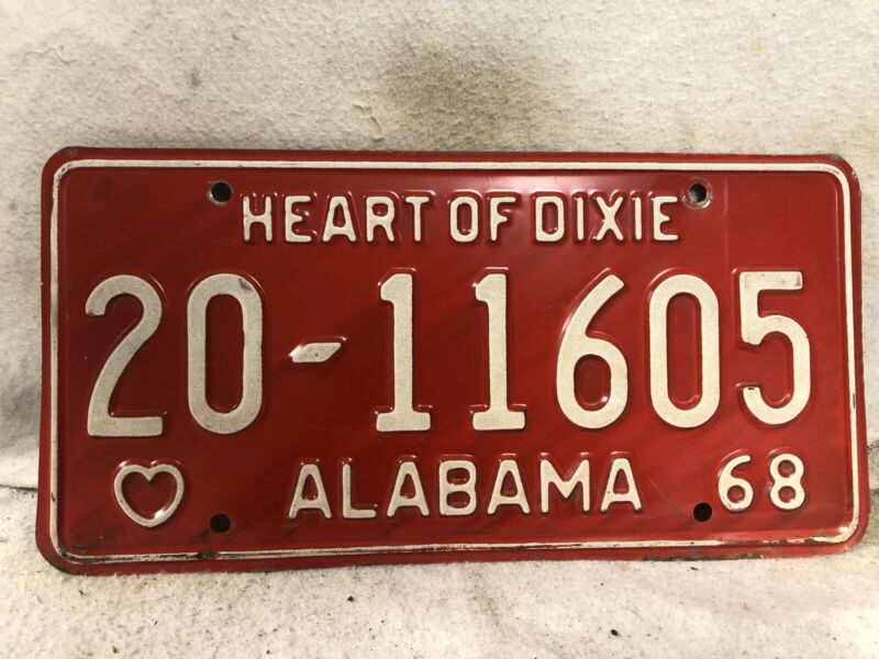 Vintage 1968 Alabama License Plate