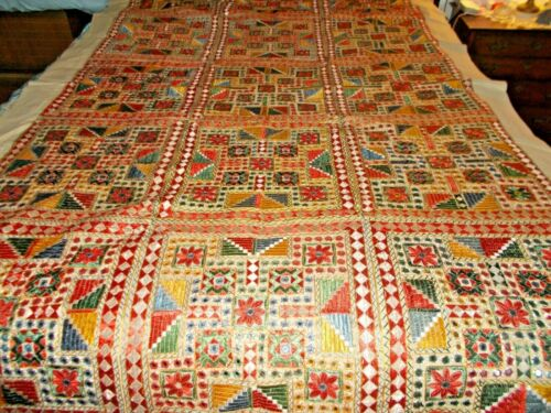 Vintage Handmade Colorful Embroidered Coverlet / Quilt 1970
