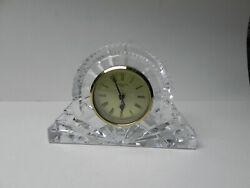 Waterford Crystal Large Mantel Desk Clock 4.75 New Battery