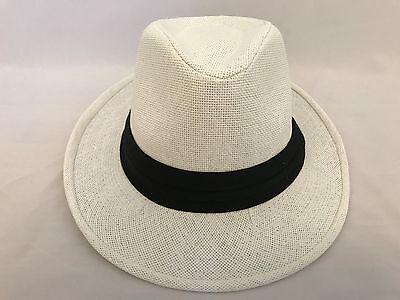 White Felt Hat - WOMEN Straw Hat Trilby Cuban Cap Summer Beach Sun Panama Short Brim Unisex White