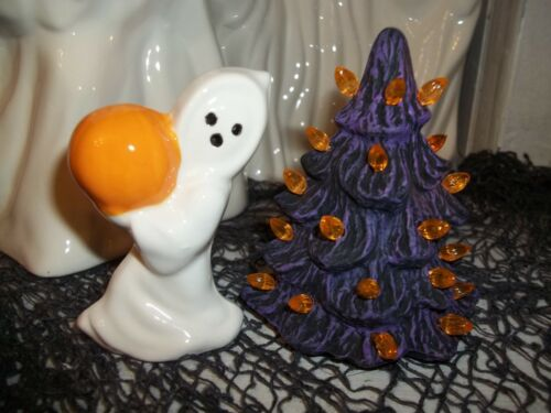 CERAMIC HALLOWEEN GHOST HOLDS JOL+ HAUNTED TREE VTG INSPIRED TOY DOLL DECORATION