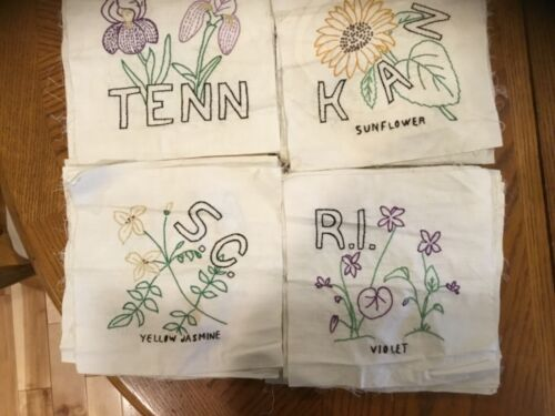 """Vintage 9"""" Hand Embroidered Quilt Block Squares, States, Flowers, 41 Total!"""