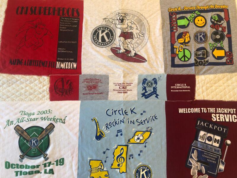 Vintage Circle K International Kiwanis Quilt 52x43 Mississippi State Shirt Quilt