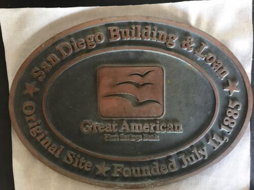 Vintage San Diego Building & Loan Sign Building Bronze Plaque