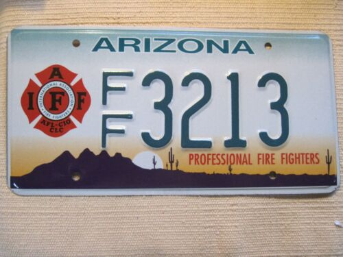 Arizona Fire Fighters license plate. Mint