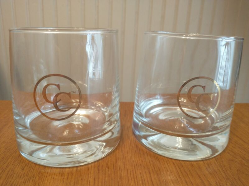 """Canadian Club Rock Glasses Lot of 2 Drinking Whiskey 3.5"""" Clear w/ Gold Logo New"""
