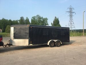 24 ft enclosed trailer   toy hauler . Drive in out