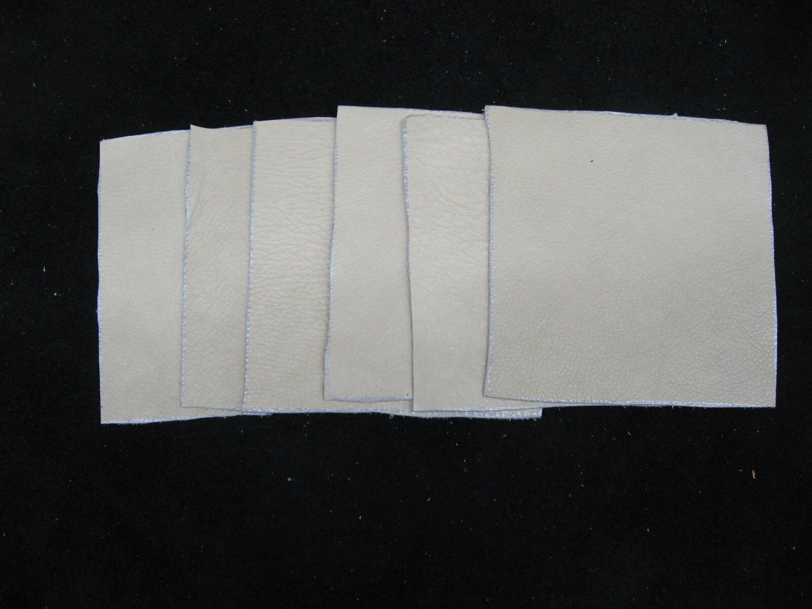 Scrap Leather Cowhide Creamy White Or A Buff Color 4x4 Inches 6 Pieces NEW - $3.49