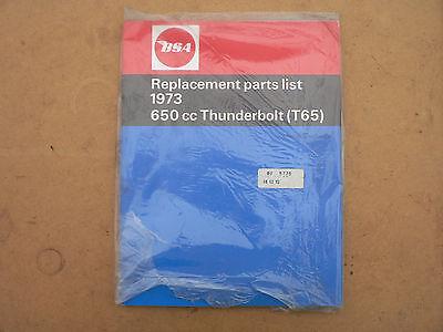 BSA T65 THUNDERBOLT PARTS BOOK 1973 MODELS ( TRIUMPH 650 WITH BSA BADGES )