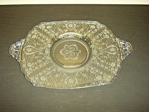 "CAMBRIDGE GLASS ELEGANT CRYSTAL DIANE ETCHED OPEN HANDLE 15-1/2"" x 11"" PLATTER"