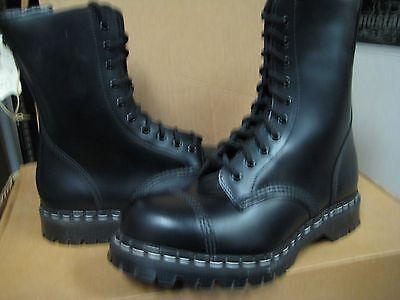 Gripfast  Women 10 Eylet Steel Toe Boot Made UK GS 1016 Black Leather US 8 NEW