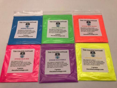 INTENSE NEON 6 Pk Sample Powder Pigment for Epoxy Resin Art, Soap Making 2g Bags