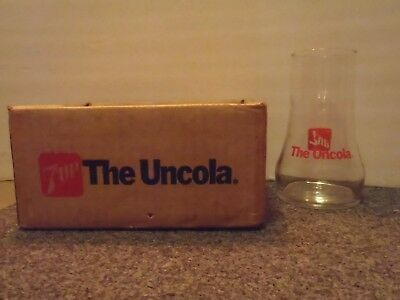 Uncola 7 up upside down drinking glass w/box VINTAGE!