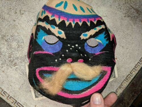 Vintage Painted Linen Fabric Face Mask Halloween Masquerade no 4