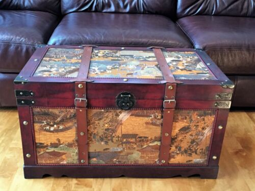 Ancient City Wood Storage Trunk Wooden Hope Chest - Large Size
