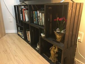Handcrafted wooden crate bookshelf/ tv stand