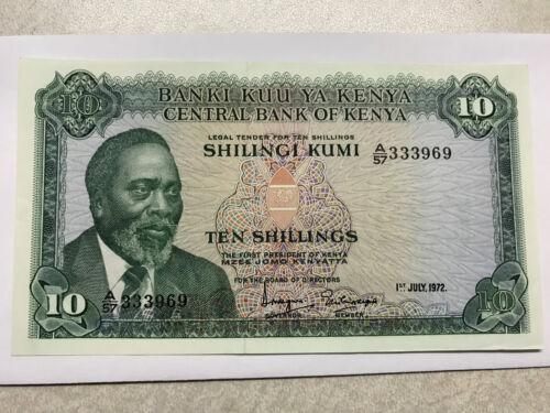 1972 Kenya 10 Shillings AU++ #14051