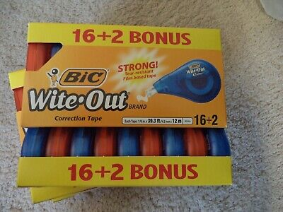 Bic Wite-out Brand Ez Correct Correction Tape 18 Pack White Out Large Multi Nib