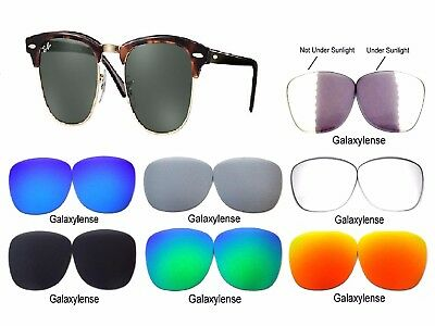 Galaxy Replacement Lenses For Ray Ban RB3016 Clubmaster 51mm Multi (Ray Ban Clubmaster Replacement Lenses)
