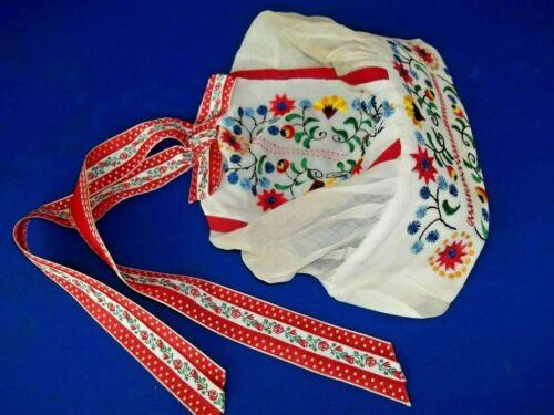 Beautiful Vintage Czechoslovakia White Folk Bonnet Cap Hat Colorful Embroidery