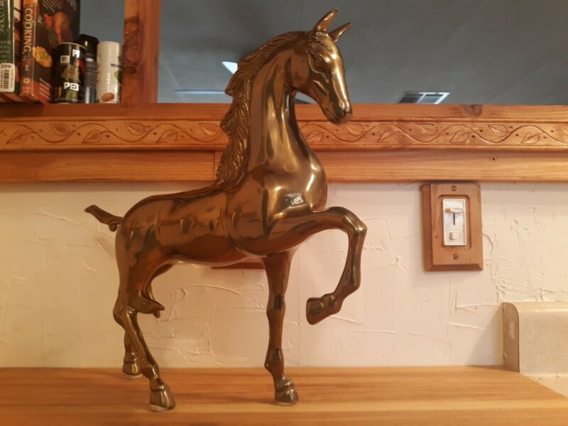 """Large Brass Horse Figure 26"""" Tall Excellent Condition"""