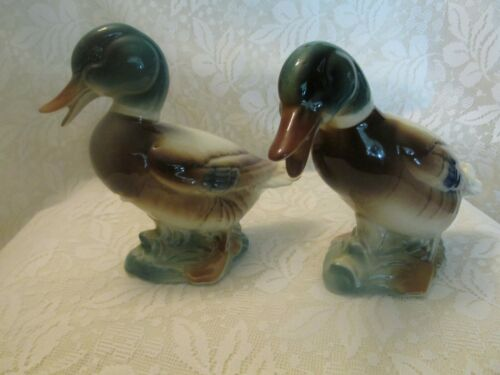 Two Vintage Royal Copely Mallard Duck Figurines
