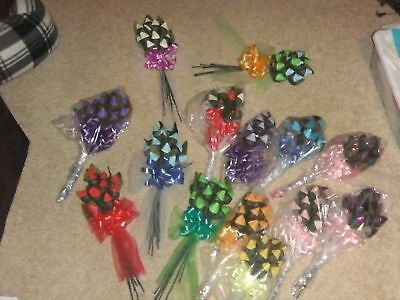 Valentine Hershey Kiss Chocolate Roses 12 Rose   Bow U Pick Color Favor Fre Ship